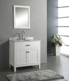 "New Contemporary 36"" Single Sink Bathroom Cabinet Sink Vanity Set - White"