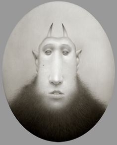 """Travis Louie, Tim The Worried Krampus, 2014, acrylic on board, 10 x 8"""" at William Baczek Fine Arts www.wbfinearts.com  """"This type of Krampus absorbs peoples worries and stores them in his large beard. They wander the streets collecting worries, growing their beards..."""" #TravisLouie #painting #beards #art"""
