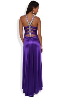 Purple Long Prom Dress with Stone Straps and Open Back with Multi Bar Straps