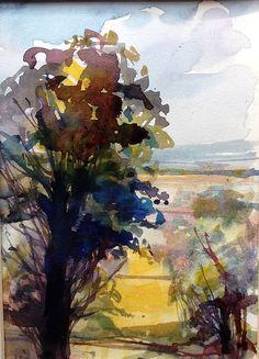 Original Watercolour Landscape Painting- Late Summer- by Annabel Burton