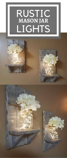 Rustic Home Decor, Mason Jar vase, Sconces, Set of 2 Sconces,House warming Gift, Mason Jar with lights, Firefly lights, Farmhouse decor #afflink #rusticdecor #homedecor #farmhouse #masonjar #lights