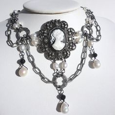 Gothic Cameo Choker in White and Black Gothic by astraeadesigns, $39.00
