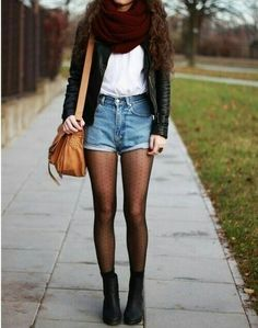 Cute fall outfit black leather jacket burgundy scarf denim high waist shirts white tee sheer tights black boots Check out the website to see Cute Fall Outfits, Fall Winter Outfits, Casual Outfits, Winter Shorts Outfits, Fall Layered Outfits, Winter Dresses, Hipster Fall Outfits, Winter Style, Snow Style