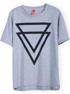 Grey Short Sleeve Inverted Triangle Print T-Shirt - Sheinside.com