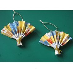 Origami Japanese Fan Chrams, x 2 - Yellow and red oriental by mypapereden, via Flickr