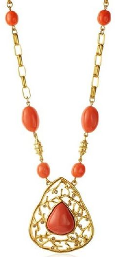 Tahari Capri Coral Statement Necklace Elegant coral cut-out pendant is studded with tiny crystals and accented by glossy pink beads; 2.5