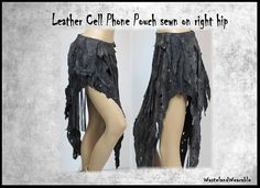 Plus Size Apocalyptic SKiRT Black genuine Leather Fringed CELL
