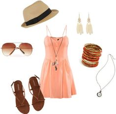 How to wear a simple sundress: Outift 1 - Music festival - Sandals, aviator sunglasses, fedora hat, necklaces, bangles, earrings