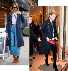 Stree style look trench coat azul