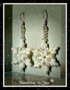Snowflake White Holiday Earrings Handmade Beaded by Beadwork4Sale