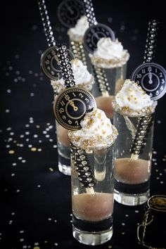 Champagne gelée ½ cup cold water One envelope oz.) powdered gelatin ½ cup granulated sugar 1 cup ml) champagne, at room temperature Set eight ounce shot glasses in a. Dessert Shots, Dessert Cups, Jelly Recipes, Sweet Recipes, Champagne Jelly, Pastry Board, Cake Pop Sticks, Mini Foods, Chocolate Truffles