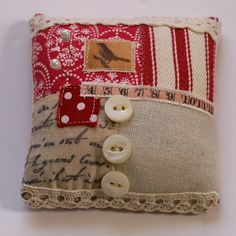 Lavender Scented Pincushion by Pantsandpaper. Image only; item was sold on Folksy at http://folksy.com/items/1708197-Lavender-Scented-Pin-Cushion
