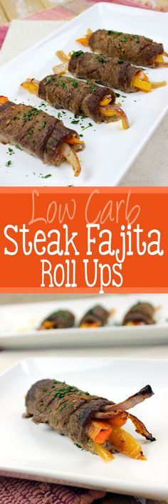 These Low Carb Steak Fajita Roll Ups are guilt free and loaded with flavors that won't leave you missing the tortilla!   EverydayMadeFresh.com http://www.everydaymadefresh.com/low-carb-steak-fajita-roll-ups/
