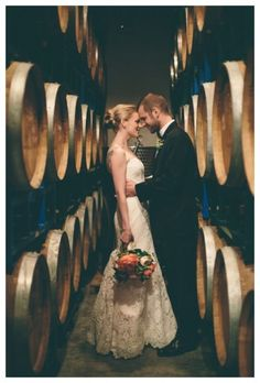 An intimate pre-wedding moment in the Brooklyn Winery Barrel Room