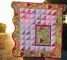 What a fun use of colors and different size prints.  Love the Scallop on the one side.. Why not?