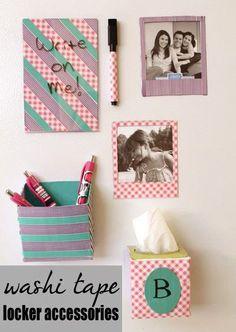9. Use Washi tape to create cute locker accessories – the tissue box is genius!