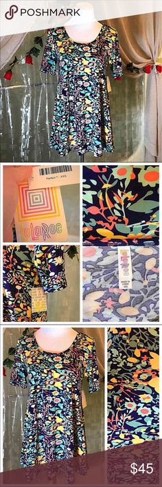 LULAROE Perfect T floral pattern XXS NWTs Cute LLR PERFECT T  brand new with tags. Size XXS but would likely also fit XS, S and some M. So many ways to wear it!! Would go great with many LuLaRoe leggings or shorts for the summer! Very cute floral abstract like pattern with great color scheme. Please ask any questions :) I paid $50 for this. LuLaRoe Tops Tunics