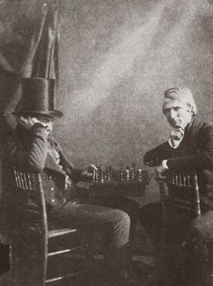'The Chess Players', c 1844. Calotype. The player on the left is probably the photographer Antoine Claudet.