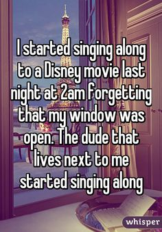 I started singing along to a Disney movie last night at forgetting that my window was open. The dude that lives next to me started singing along --- Life goals/relationship goals Imagine your otp Disney Pixar, Disney Memes, Disney Ships, Funny Relatable Memes, Funny Texts, Funny Quotes, Sassy Quotes, Puns Hilarious, Food Quotes