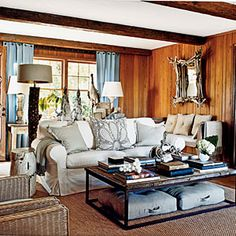 This homeowner filled her living room with unexpected treasures, like wood and building fragments, found objects, and natural elements with lots of great texture. When decorating, pile on the things you love and edit away later for the best results. Knotty Pine Rooms, Knotty Pine Decor, Knotty Pine Living Room, Knotty Pine Paneling, Living Room Accessories, Home Decor Accessories, Coastal Living Rooms, Living Room Decor, Living Area