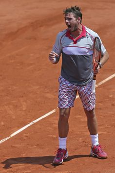 So what's the deal with Stan Wawrinka's shorts? Stan Wawrinka, Tennis Fashion, French Open, The Man, Eye Candy, Champion, Sporty, Plaid, Tennis