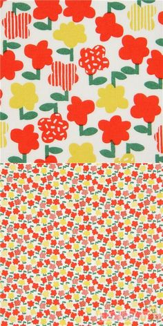 off-white cotton sheeting fabric with flowers in orange, yellow, green, Material: 100% cotton, Fabric Type: smooth cotton printed sheeting fabric #Cotton #Flower #Leaf #Plants #JapaneseFabrics