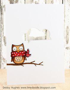 card critters birds bird owl Lawn Fawn Winter Owl bird on a branch   - Lime Doodle Design