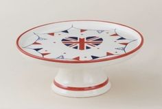 Union Jack Heart Ceramic Cake Stand / Plate - Bunting Flags Pattern - Boxed. New  Visit our family business...The Ginger Sheep £11.99