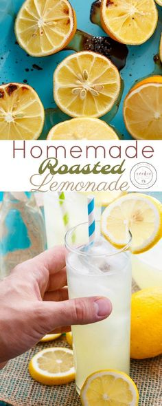 Homemade Roasted Lemonade | http://thecookiewriter.com | @thecookiewriter.com | #drink | Summer is here and this homemade roasted lemonade is so needed! Roasting the lemons not only brings out flavours, but makes them easy to juice! Vegan, vegetarian, and gluten-free!
