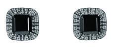 Desire Full Earrings in 18K White Gold with Black Rodhium, Black Quartz and Diamonds
