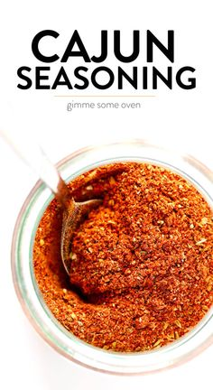 The best homemade Cajun Seasoning recipe! It only takes about 5 minutes to make, and tastes great on everything from chicken to shrimp, veggies to tofu, every kind of potato and more. Use it in a soup, stir-fry, pasta, kabob, dip, crackers, sheet pan dinner - you name it! It's the bold, zesty, spicy blend that kicks any dish up a delicious notch.   Gimme Some Oven #cajun #seasoning #spice #blend #spicy #glutenfree #homemade