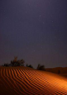 Desert Night Sky | moonlite night in Maranjab sand desert, central Iran. Shining stars ...