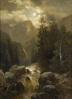 The Athenaeum - Alpine Landscape with Torrent (Josef Thoma - ) Great Paintings, Nature Paintings, Beautiful Paintings, Oil Paintings, Fantasy Landscape, Landscape Art, Landscape Paintings, Waterfall Paintings, Moonlight Painting