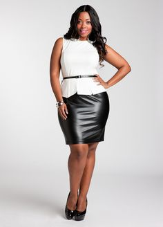 Ashley Stewart: Colorblock Dress  Style: 46680  This anything but basic dress is sure to keep you looking gorgeous! Plus size sleeveless dress features a scoop neckline, removable patent leather belt, vented hem and is completed by a faux fitted leather skirt. Discreet zip closure at center back.