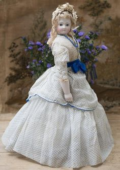 """18"""" (44 cm) Very Beautiful French Fashion Bisque Poupee Doll with Blue Eyes, Bisque Arms, Original Costume, c.1865"""