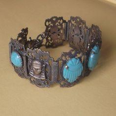 Egyptian Revival Pharoah Scarab Bracelet by JANETLILY on Etsy