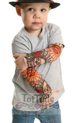 Gift Trend:  Ink for Babies and Toddlers.  Tattoo Sleeve Gray T-Shirt for Infant & Toddler by Tot Tude @ Etsy.
