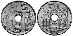 Monedas antiguas de España- 50 céntimos 1963, conocida como 2 reales