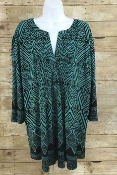 f9684d3fe0e SERENGETI Plus Size Women s Tunic ~3X~Teal   Black 3 4 Sleeves NEW   Serengeti  Tunic  Casual