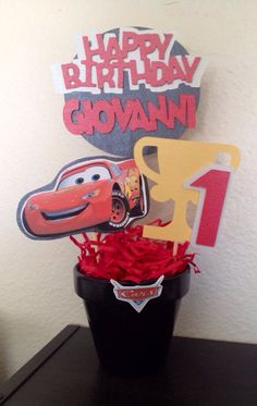 This Lightning McQueen centerpiece is a new centerpiece added to my shop. Center… This Lightning McQueen centerpiece is a new centerpiece added to my shop. 1st Birthday Party For Girls, Office Birthday, Cars Birthday Parties, 3rd Birthday, Birthday Cakes, Birthday Ideas, Lightning Mcqueen Party, Lightning Mcqueen Birthday Cake, Lightening Mcqueen