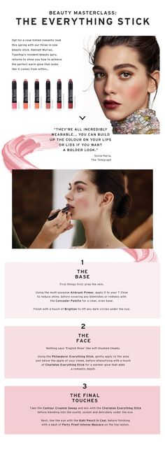 Opt for a rose-tinted romantic look this spring with our three-in-one beauty stick. Hannah Murray, Topshop's resident beauty guru, returns to show you how to achieve the perfect warm glow that looks like it comes from within… #Topshop
