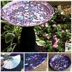CD Mosaic Birdbath A Super Easy DIY You'll Love To Try