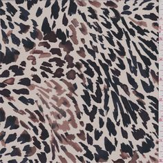 Ecru background with a navy blue, black, cocoa brown and amethyst purple miniature animal print. A very lightweight, luxurious woven silk fabric with a delicate texture. Thiscrepe de chinehas excellent drape and fluidity.Compare to $39.00/yd