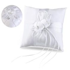 TINKSKY 25*25cm Lovely Flower Buds & Faux Pearls Decor Bridal Wedding Ceramony Pocket Ring Pillow Cushion Bearer with Ribbons