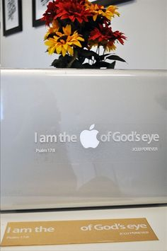 "I am the Apple of God's Eye Sticker for Mac's. A fun and creative way to express your faith with your laptop. Inspired by Psalm 17:8 Keep me as the apple of your eye; hide me in the shadow of your wings. Carefully place this sticker so that the Apple logo of your Mac is centered in the space allotted. This sticker measures 3x10 inches and fits all Mac sizes from 13"" and up $3.00"