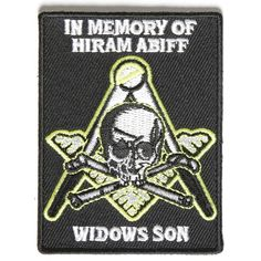 Widows Son Mason Patriotic Iron on Patch In Memory Of Hiram Abiff Biker Patches, Iron On Patches, Skull Patches, Hiram Abiff, Leather Vest, Leather Jackets, Clothing Patches, Sons, Memories