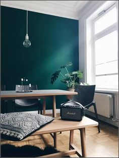 my scandinavian home: Teal Steals the Show in This Hamburg Apartment Appartement Dark Living Rooms, Living Room Green, Green Rooms, Home And Living, Living Room Decor, Bedroom Decor, Ikea Bedroom, Bedroom Furniture, Green Dining Room