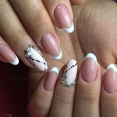Beautiful French nails, Beautiful white nails, French manicure, Ideas of evening nails, Nails ideas New year french nails New year nails ideas New years nails New Years Nail Designs, Best Nail Art Designs, New Year's Nails, Hair And Nails, French Nails, Cute Nails, Pretty Nails, Nail Art Design Gallery, French Manicure Designs