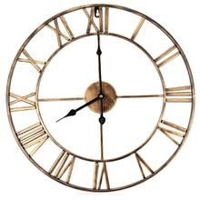 Decorative Wall Clock, Eruner Inch Oversized Vintage Metal Clock with Roman Numerals Large Dial Non-Ticking Home Kitchen Living Room Restaurant Cafe Bar Decoration Gold Big Wall Clocks, Wall Clock Silent, 3d Wall Clock, Kitchen Wall Clocks, Metal Clock, Wall Clock Design, Clock Decor, Hanging Clock, Clock Antique