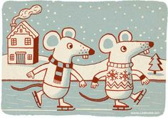 Merry Christmas 2011 (by Allan Sanders) Retro Christmas, Vintage Christmas Cards, Christmas Greeting Cards, Christmas Greetings, Holiday Fun, Mouse Illustration, Christmas Illustration, Cute Rats, Christmas Cartoons